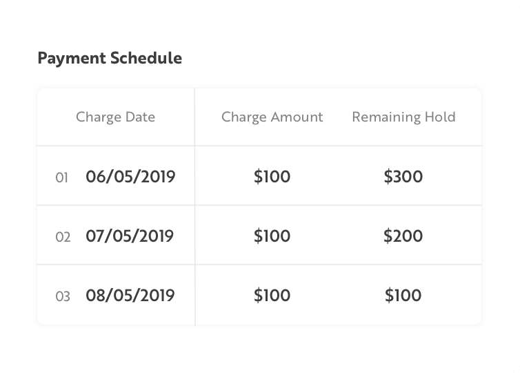 Payment Schedule example table