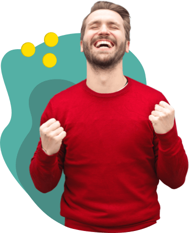 a young man holding his fists with excitement and smiling, illustration